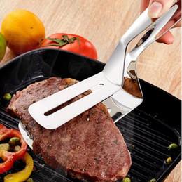 pinzas de cocina Rebajas Pinzas para barbacoa Barbacoa de acero inoxidable Pinzas para carne asada frito Pala de pescado frito Barbacoa de pan Abrazadera Cocina Pan Abrazadera de carne