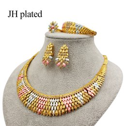 oro etioco Sconti Gioielli JHplated Donne Set collana e orecchini bracciale anello nuziale etiope monili confezioni regalo d'oro turco all'ingrosso