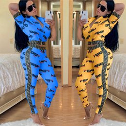 wholesale mandarin suits Promo Codes - Women Tracksuit Printed F Letter Short Sleeve Zipper Tops + Pants Leggings 2 piece Fashion Suit Summer Outfit Sportswear Jogger Sets A32603