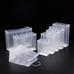 Chiari borse di regalo borse online-8 Dimensioni Sacchetti regalo in plastica PVC satinato con manici impermeabile in PVC trasparente borsa trasparente borsa a mano favori borsa logo personalizzato LX1383