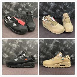 B ropa deportiva online-Lo nuevo 90 Zapatos para correr Negro Blanco Amarillo Diseñador de moda 1990 Hombres Mujeres Athletic Trainer Sportswear Shoes Tamaño 36-45