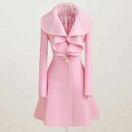 panno per l'inverno Sconti cappotto di lana per le donne autunno Autunno Inverno Outfit nuovo ed elegante delle signore delle donne panno di lana cappotto lungo increspato pelliccia cappotto