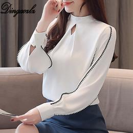 camisas de chiffon de escritório para mulheres Desconto Dingaozlz Novas Mulheres Roupas cor sólida Chiffon blusa Lanterna Manga Camisa Branca Top Office lady camisa
