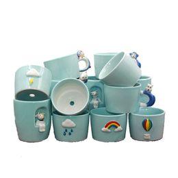 2019 vasi di ceramica animale Vaso da fiori elegante del cactus di animale del celadon del fumetto animale leggero leggero ceramico creativo creativo della pianta del tempo di personalità DHL libero vasi di ceramica animale economici