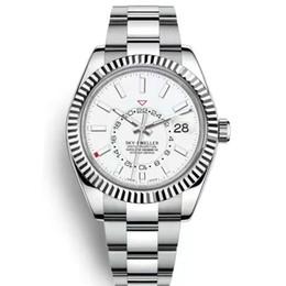 Мужские часы фазы moon онлайн-Роскошные часы новые мужские автоматические механические календарь 42 мм часы фазы Луны дисплей Sky GMT мужские светящиеся бизнес-водонепроницаемый 30M часы