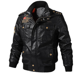 Casacos militares on-line-Casacos Outono militar do exército Inverno Designer Bomber Jacket Coats Mens PU Leather