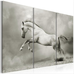 framed white floral paintings Promo Codes - ( No Frame ) Canvas Print Modern Abstract White Horse Jump Poster Home Wall Decor Painting Canvas Printing Art HD Print Painting
