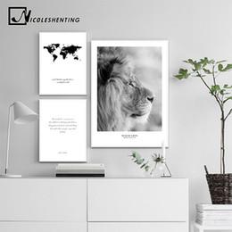 2020 arte da lona do leão Imprimir Branco Preto Scandinavian Poster Nordic Canvas Wall Art África Leão animal Pintura decorativa Imagem Decoração desconto arte da lona do leão