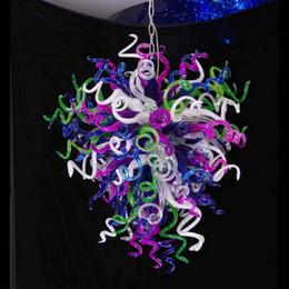farbige kronleuchterkristalle Rabatt 100% mundgeblasenem Borosilikat Haushaltswaren Murano Glas Kronleuchter Hochwertige Kristall Multi Colored Pendelleuchten