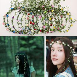 Fascia fiore hawaii online-16 stili di nozze ragazza sposa testa fiore corona rattan ghirlanda Hawaii testa la corona del fiore Donne Bohemian Fasce M1209