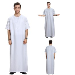ropa islámica dubai Rebajas 2019 Ropa árabe de los hombres vestido Thobes Kaftan Casual botón de manga corta Medio Oriente Dubai Robe Kaftan islámico masculino S-3XL