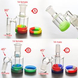 Precios de la cera online-Precio de fábrica Mini colector de ceniza de vidrio con 10 ML de silicona cera jarra de aceite 14 MM-14 MM conjunta para fumar Pipa de vidrio Bongs envío gratis