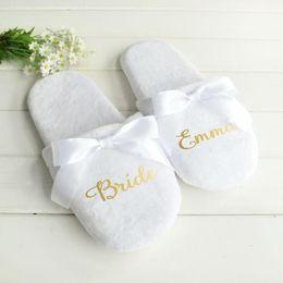 Zapatillas de corazon online-Personalizadas de la letra zapatillas de bodas con regalos de la novia del cordón de zapatillas de dama de encargo de la fiesta de Bachelorette Zapatos de la impresión del corazón Favores
