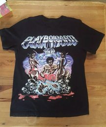 Camiseta vintage hip hop online-Vintage Playboi Carti Tour Merch Concert T-Shirt Rare Hip Hop Rap Tee Cuello redondo hombre 2018 Hombres La última moda Manga corta