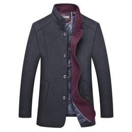2019 chaqueta casual de lana para hombre Brand New Mens Wool Coat Witner Fashion Fur Collar Hombre Casual Pea Coat Hombres Chaqueta larga Abrigo Abrigo Hombre M-4XL BF1717 rebajas chaqueta casual de lana para hombre