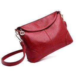 correa de hombro de cuero negro Rebajas Nuevo bolso de hombro elegante para mujer 2019 Bolso bandolera de cuero de moda con 2 correas de hombro Negro Azul Púrpura Rojo T190913