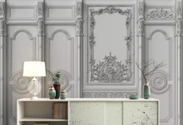 lining paper walls Promo Codes - 3D Wallpaper White European carved plaster line Background Wall Mural Living Room Bedroom Home Decor Wall Paper For Walls 3D Papel De Parede