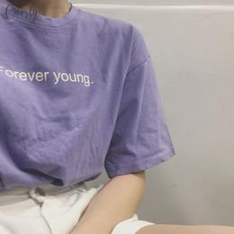 mejores impresiones de camiseta Rebajas Estilo coreano para siempre Tshirt TV de los amigos T Shirts Mujeres blanco púrpura de las mujeres del estilo estético Mejor Joven corta impresa letra Tops