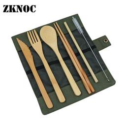 Tenedor cuchillo palillos online-Juegos de vajilla portátiles Cubiertos de bambú Tenedor Cuchillo Cuchillos Palillos Viaje Ecológico Tenedor Cuchara Juego de paja Vajilla Utensilio C18112701