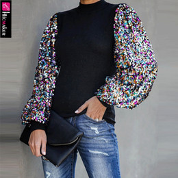 2020 collo Long Sleeve Mock Neck Lanterna manica paillettes Colorblock Inserire Camicetta Donne brillante Scintillante Chic Primavera Autunno Camicia Y200422 sconti collo