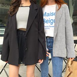 2019 damen jacke koreanischen stil Blazer Neue Frauen Retro Einreiher Allgleiches Einfache Schicke Jacken Damen Trendy Korean Style Damen Elegante Tägliche Mode günstig damen jacke koreanischen stil