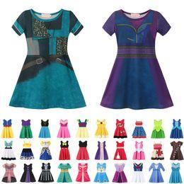 Festa di partito abiti online-37 stile Little Girls principessa del fumetto di estate dei bambini dei capretti abiti da principessa vestiti casuali Kid viaggio Frocks Costume Party AA1919