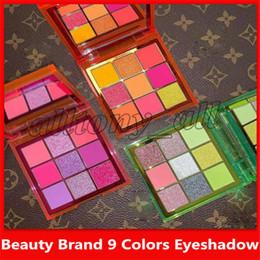 paleta de sombras de ojos color burdeos Rebajas La marca de belleza más nueva NEON 9 Colors Shimmer Eyeshadow Make Up Eyadowow con 3 estilos y alta calidad