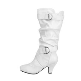 Stivali bianchi online-Stivali bianchi tacchi alti scarpe fibbia sopra il ginocchio stivali donna Calzature da donna Solide taglie forti scarpe da donna
