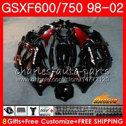Carenados gsxf online-Cuerpo para SUZUKI KATANA GSXF 750 600 GSXF600 98 99 00 01 02 2HC.12 GSX750F GSX600F GSXF750 1998 1999 2000 2001 2002 Kit de carenado llamas rojas