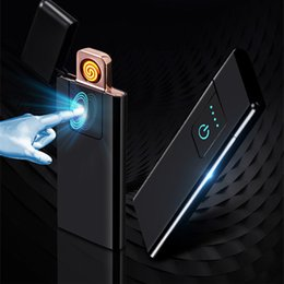 Interruptor mais claro on-line-USB recarregável Isqueiros cigarro eletrônico Zinc Alloy Lighter Mudar Tela Flameless Toque Shell colorido à prova de vento de metal