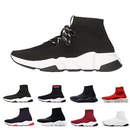 calcetines altos Rebajas Calcetines Balenciaga Zapatos con cordones Speed Trainer Negro Rojo Triple Negro Marca Fashion Socks Trainer zapatillas deportivas