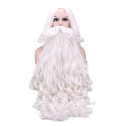 santa beard wigs Promo Codes - Christmas Gift Santa Claus Wig and Beard Synthetic Hair Short Cosplay Wigs for Men White Hairpiece Accessories Santa Beard 70cm
