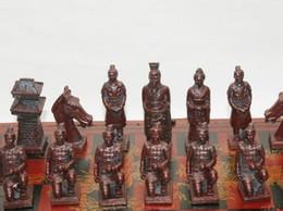 caixa de xadrez em madeira Desconto (32 peças) Elaborar chinês clássico de madeira terracota guerreiros Manual xadrez, com caixa de madeira vermelha (tamanho grande)
