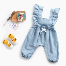 5541c1caeab Cute Baby girl clothes Soft Denim Jumpsuit Back Bow Ruffle sleeve Summer  wholesale