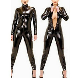 2019 monos para damas de talla grande Cuero de las nuevas mujeres atractivas señoras de la mirada mojada PVC Catsuit cremallera de la entrepierna mono del mono Clubwear más el tamaño S-4XL rebajas monos para damas de talla grande
