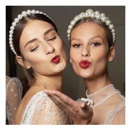 Accessori per capelli per feste eleganti online-Trendy Big Pearl Fascia per le donne Elegante White Pearl Wedding Party Accessori per capelli da sposa Headwear Hairband Head Hoop