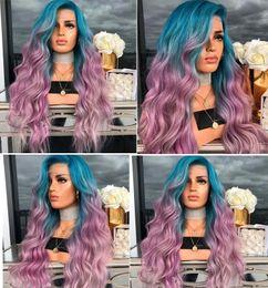 2019 длинные вьющиеся фиолетовые волосы парик Европейский и Американский Новый Синий Градиент Фиолетовый Окрашенные Кудри Синтетические Волосы Большая Волна Косплей Парик Натуральные Длинные Полные Вьющиеся Волосы дешево длинные вьющиеся фиолетовые волосы парик