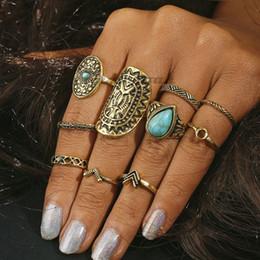 2019 großer silberner blumenring 10 stücke Vintage Big Stone Midi Ring Set Für Frauen Boho Antike Gold Silber Herz Blume Knöchel Ringe Boho Schmuck Anillos Geschenk