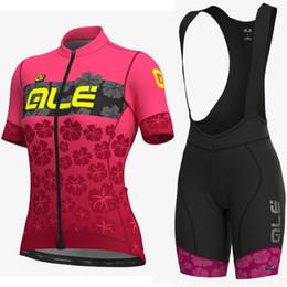 Frauen radsport bekleidung team online-ALE Team Frau Radsport Kurzarm Trikot Trägerhose Sets Neu 2019 Fahrradbekleidung Schnelltrocknend Tragbar Atmungsaktive Shorts Sets
