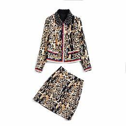 2019 printemps manches longues col rabattu imprimer perle embellie léopard jackeat genou longueur jupe ensemble deux pièces ensemble 2 pièces N29K112209 ? partir de fabricateur