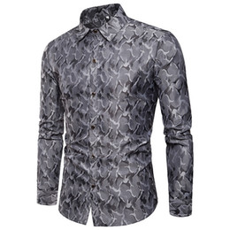 bright collar shirt Coupons - True Reveler Men Shirts Bright Color Nightclub Camouflage blouse Design Silk Cloth Fashion Lapel Men Long Sleeve hip hop Shirt