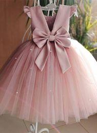 vestidos de banquete de niñas Rebajas Elegantes vestidos de niña de flores sin mangas de tul niños pequeños vestidos de primera comunión de satén para vestido de banquete