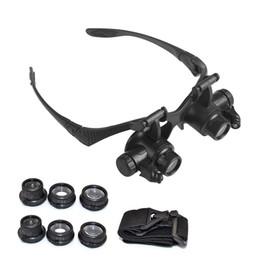 occhiali da orologeria Sconti Fascia per occhiali Riparazione per orologi Orologiaio Lente di ingrandimento Occhiali per gioielli Lenti di ingrandimento Set di strumenti con lampada LED Luce 10X 15X 20X 25X