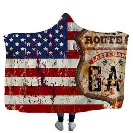 Drapeau enfant usa en Ligne-USA Drapeau américain Couvertures à capuchon Le 4 juillet Couverture à capuche douce et chaude Sherpa Couvertures en laine polaire Indenpance Day Wrap pour enfants