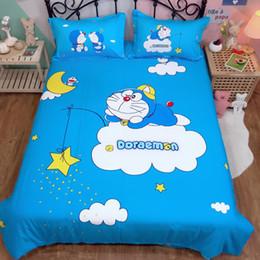 2019 mond sterne bettwäsche setzt Cartoon Bettwäsche Set Doraemon Kids Jungen 100% Baumwolle Bettbezug Twin Queen King niedlich Bettbezug Flachbettlaken Sterne Mond Bettwäsche rabatt mond sterne bettwäsche setzt