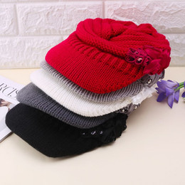 Пик колпачка онлайн-Women Ladies Knitted Hat Winter Crochet Peaked Beanie Cap Hat Knitted Skull Cap Grey Girls Skullies CAPS Bonnet Femme SnapBack