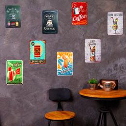 Segni di manifesti di caffè d'epoca online-Targhe in metallo vintage Cocktail Poster Servizi igienici Caffè Birra Bar Ristorante Caffetteria Bar Pub Decorazione della parete 20x30cm