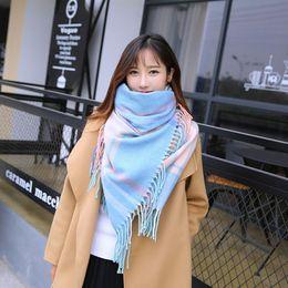 pashmina korea Sconti Autunnali e invernali esplosioni caldo pettorina Giappone e Corea del Sud a quadri come il cashmere signore scialle sciarpa accessori su ordine all'ingrosso 68