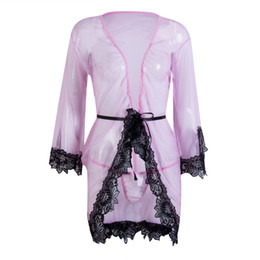 lingerie de babydoll rosa feminino Desconto Mulheres Lace Rosa solto Sexy Lingerie Sleepwear + G-string Lingerie Sexy Hot vestido erótico Roupa de Noite Sexy Underwear Babydoll S M L