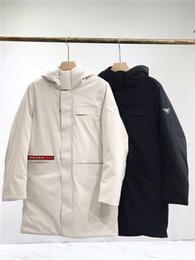 pullover di tessuto Sconti Prad Giù mastio giacca calda medio di Down Coat tessuti stretch Pullover Moda Streetwear Casual Wear con cappuccio esterna degli uomini di Down